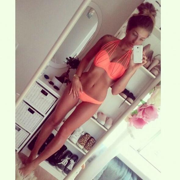 Blogerski neonowy pomarańczowy strój kąpielowy dwuczęściowy bikini push up paski Styleev