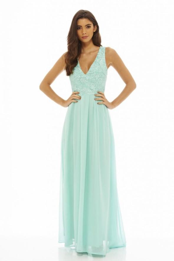d396ad03ad36d3 Miętowa długa sukienka z szyfonu z koronkowym w Suknie i sukienki ...