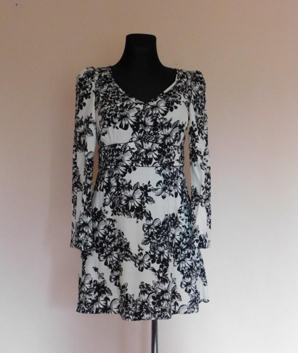 Savida sukienka biała czarna kwiaty 38...