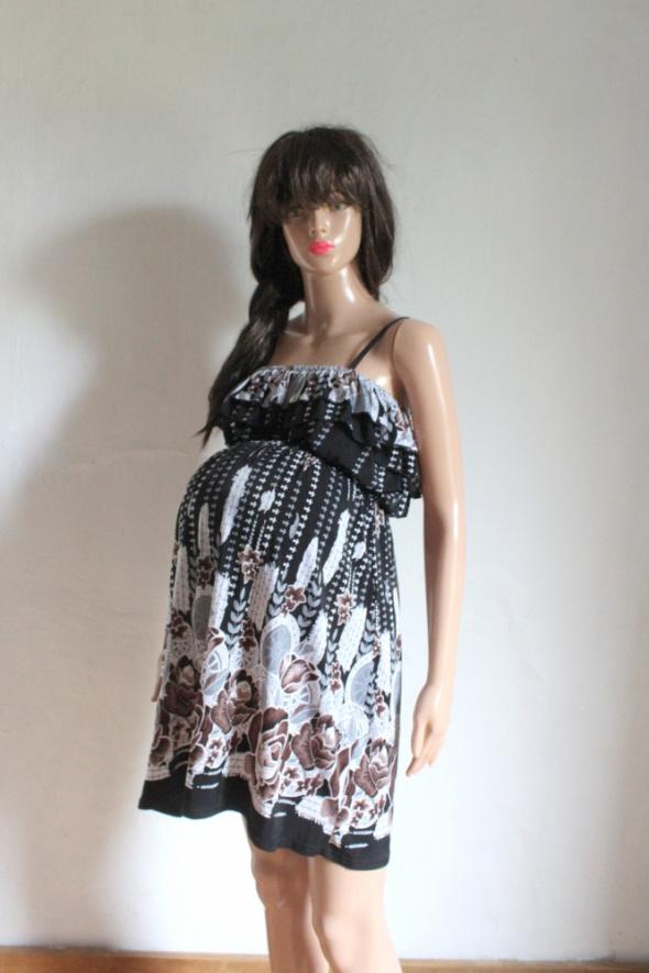 Lejąca czarna sukienka na ramiączkach wzory idealna na ciążę r ...