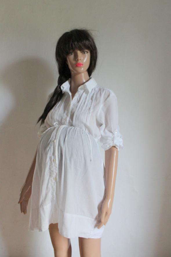 Biała koszula tunika szmizjerka wiązana w talii idealna na ciąż...