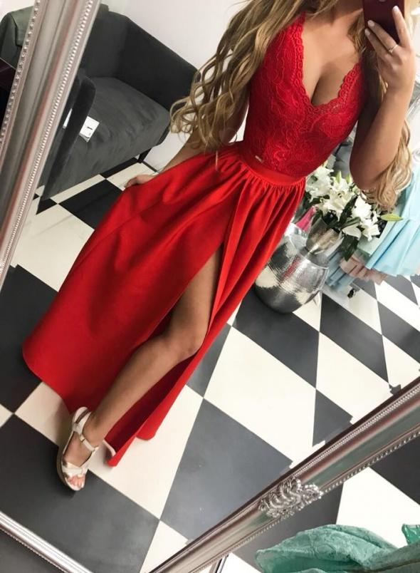 f567e63d Czerwona suknia z koronką Glamour w Suknie i sukienki - Szafa.pl