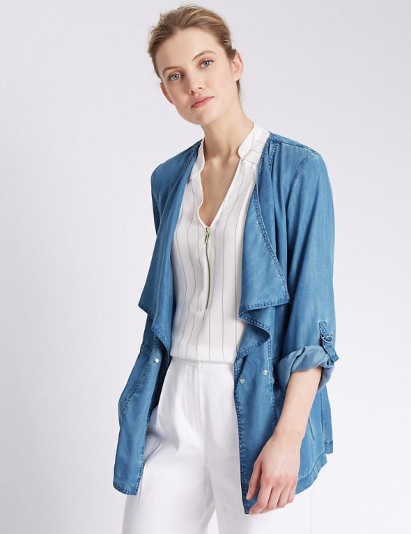 Jeansowa kurtka luźny krój Marks&Spencer L...