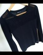 Granatowy sweter CROPP z długim rękawem siatka
