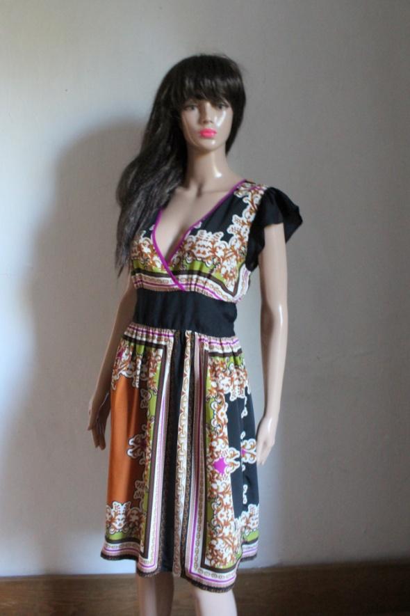 Lejąca kolorowa sukienka kopertowy dekolt r L...