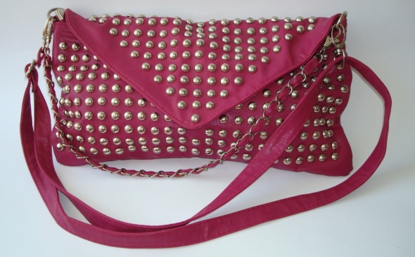 Kopertówka ćwieki studded ćwiekami różowa łańcuch