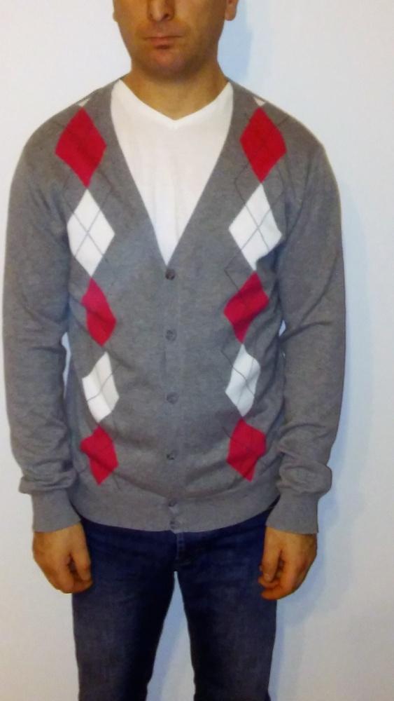 Męski rozpinany sweter w romby M