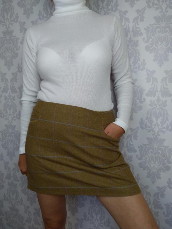 Spódnice Krótka mini spódniczka wełniana w kratkę Joules z kieszeniami