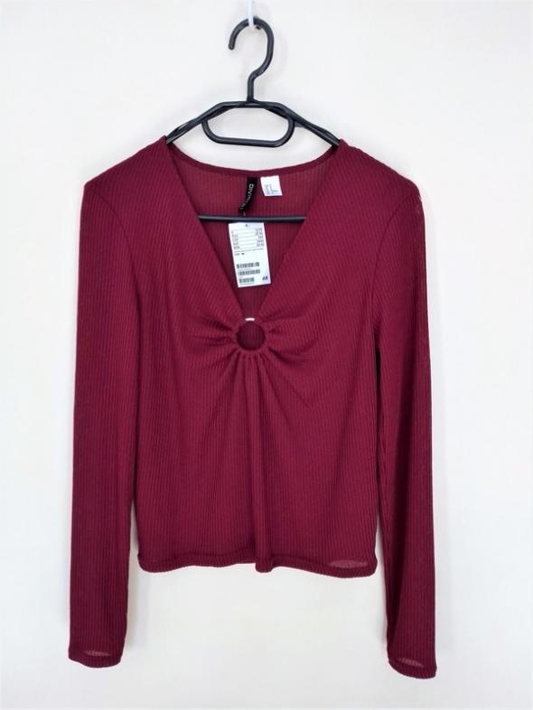 H&M dzianinowa bluzka bordo sexi dekolt rozmiar M nowa z metką