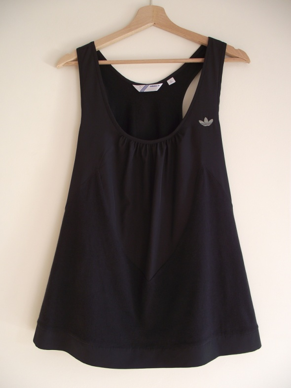 Adidas czarna bluzka top z łączonych materiałów S M...