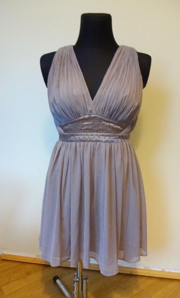 Liliowa rozkloszowana szara sukienka Love Label M z paskiem pin...