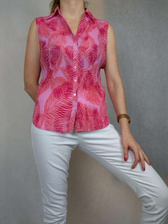Różowa bluzka plisowana koszula bez rękawów Marks Spencer...