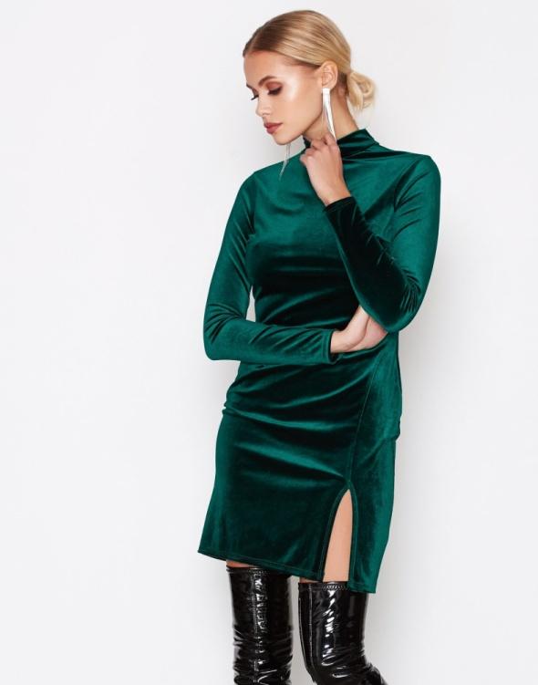 5f5aee5e0f WELUROWA sukienka BODYCON butelkowa zieleń 34 XS w Suknie i sukienki ...