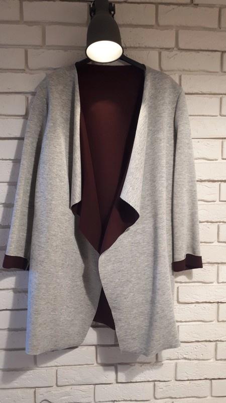 Odzież wierzchnia Płaszcz narzutka szary z burgundem styl zara