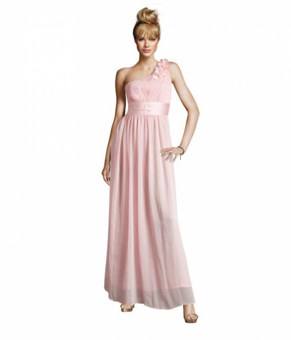 Suknia H&M marszczona pudrowy róż