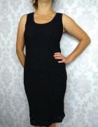 Czarna ołówkowa midi dopasowana koronkowa sukienka elegancka Wa...