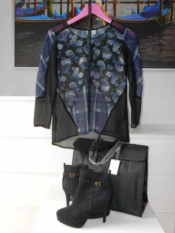 Szyfonowa bluzka H&M XS czarno granatowa
