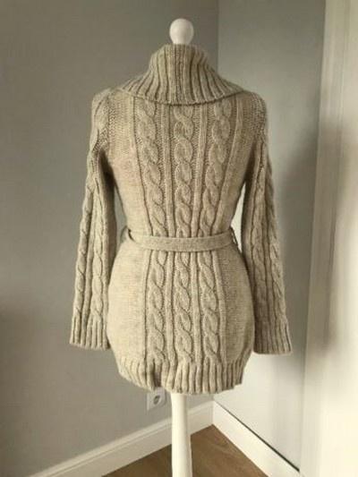 Zara knit sweter kardigan brązowy zapinany warkocze ciepły karmelowy