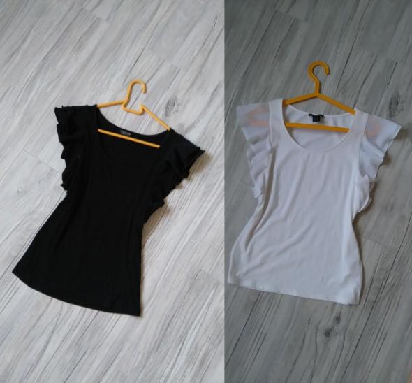 Koszulka z falbaną na rekawie biała czarna Top Shop H&M top
