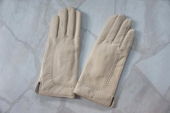 Skórzane damskie rękawiczki S beż skóra naturalna