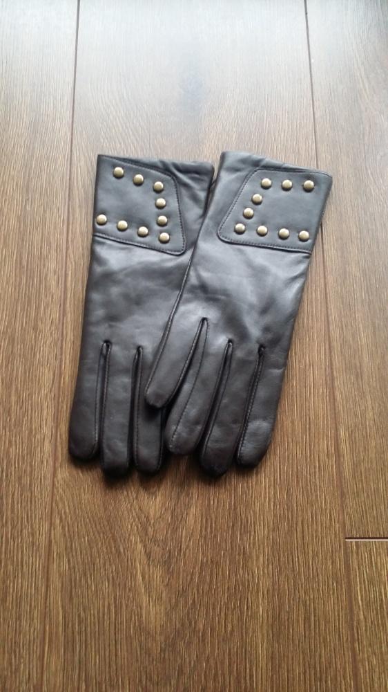 Nowe brązowe skórzane rękawiczki