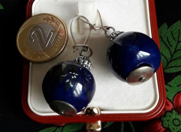 Srebrne kolczyki kobalt ceramika