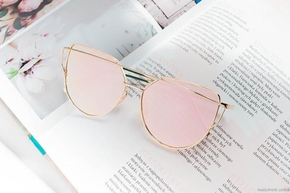 Okulary przeciwsłoneczne glam cat eye różowe złote pink nowe 2018