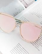 Okulary przeciwsłoneczne glam cat eye różowe złote pink nowe 20...