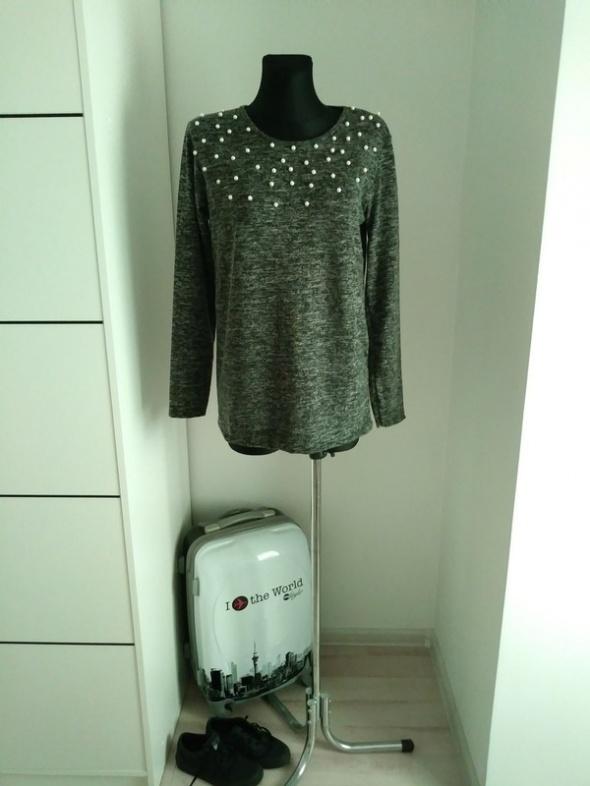 Szary sweter perełki M L XL