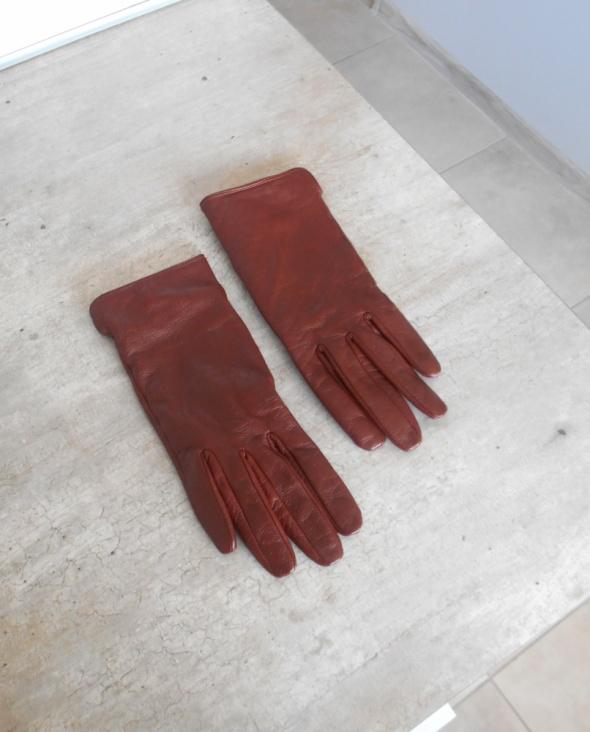 HM skórzane brązowe rękawiczki skóra naturalna