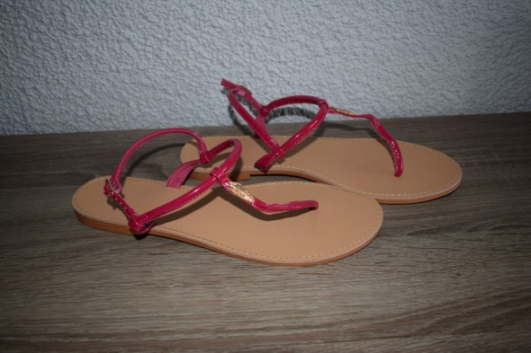 Parfois sandały japonki różowe skórzane