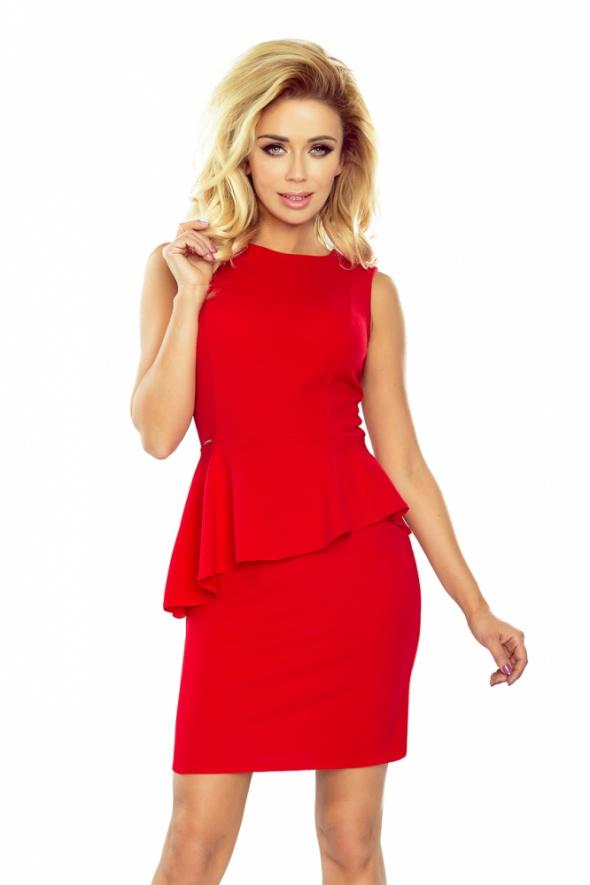Suknie i sukienki sukienka czerwona z baskinką mini