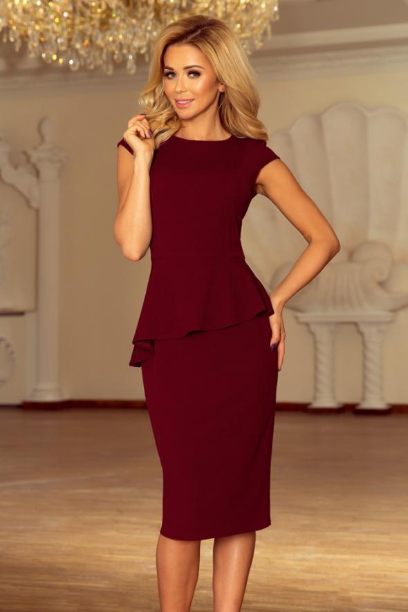 Suknie i sukienki Sukienka midi z baskinką bordowa
