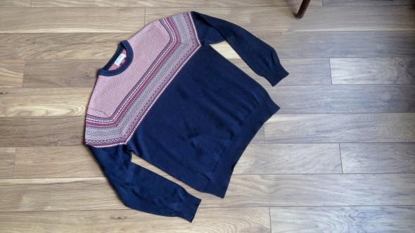 męski ciepły bawełniany sweter tu granatowy we wzory...