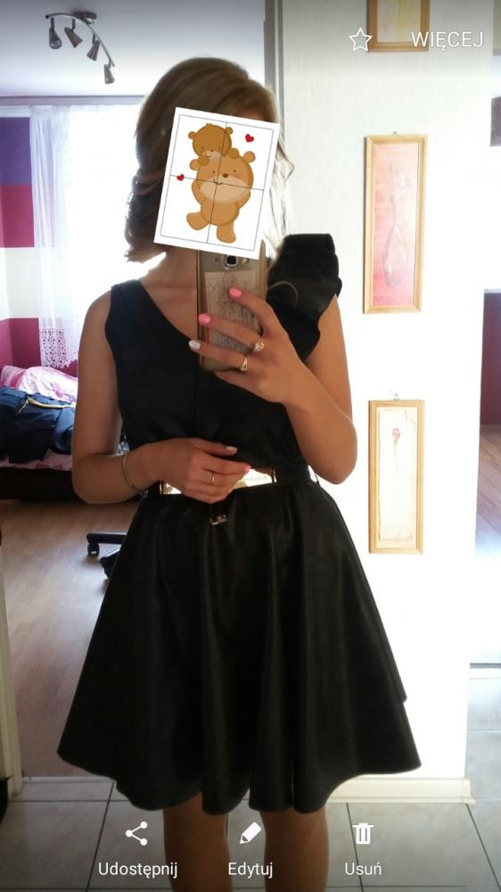 Czarna Sukienka rozkloszowana HIT XS S...