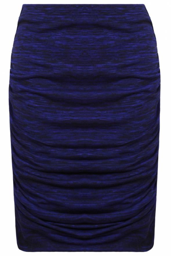 Kobaltowa cieniowana ołówkowa spódnica drapowana S