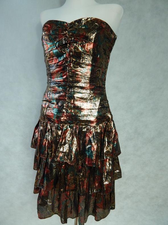 POŁYSKLIWA sukienka z FALBANKAMI 38 M