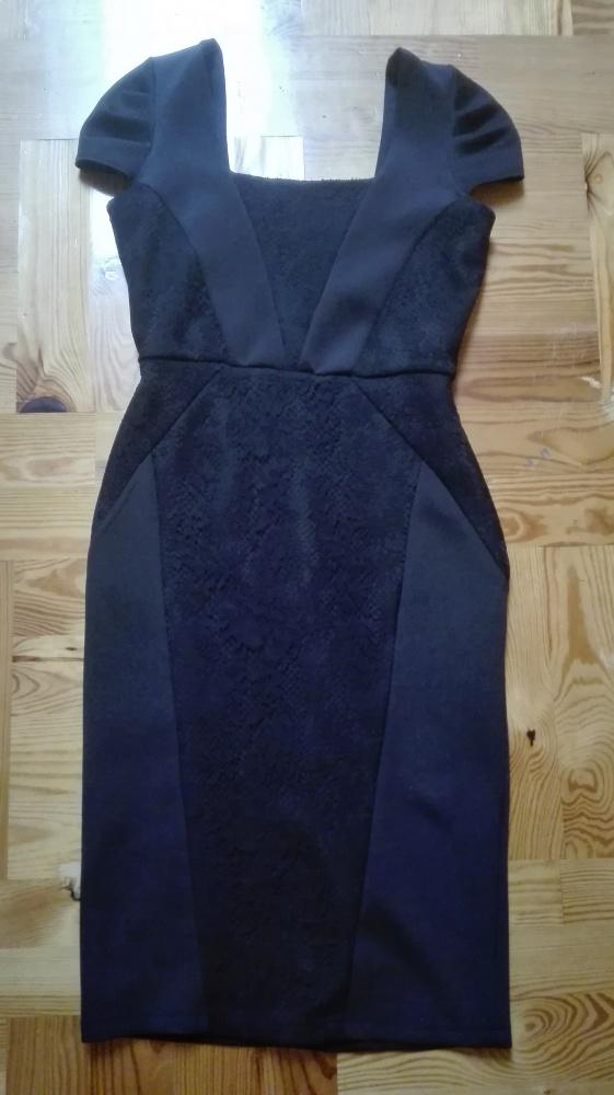 Elegancka czarna sukienka z koronką Dorotha Perkins rozmiar 36