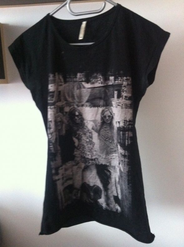 Koszulka tshirt czarna nadruk M tunika rockowa L...