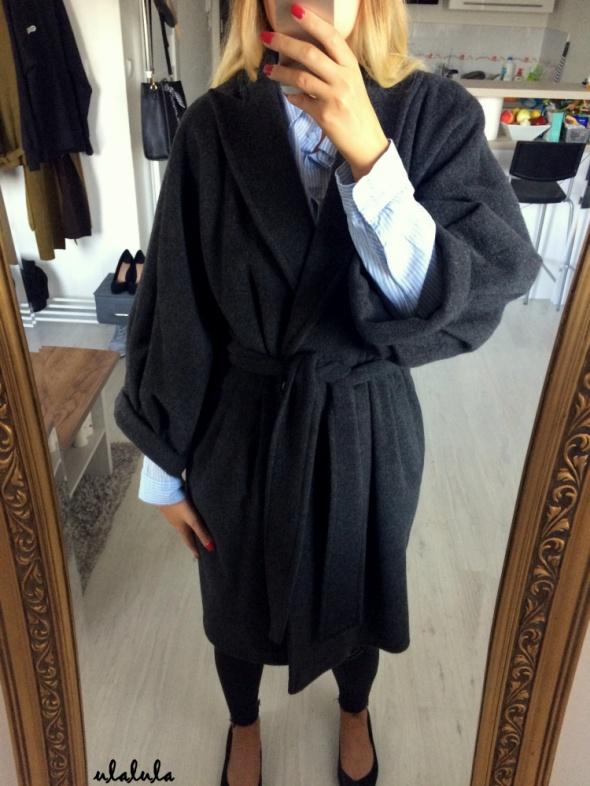 Solar wełniany wiązany płaszcz szlafrokowy z klapami bombka z domieszką kaszmiru tumblr elegant chic