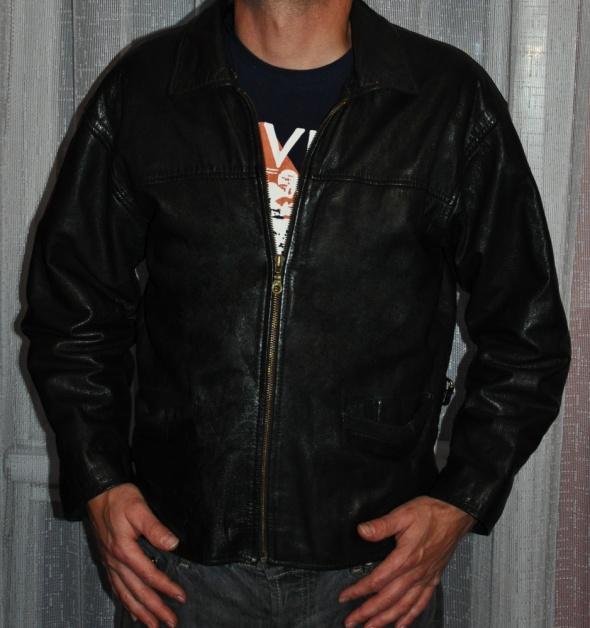 czarna męska skórzana kurtka