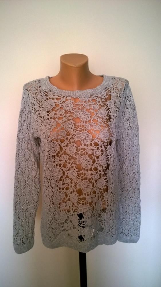 sweter ażurowy z gipiurą