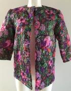 Pikowana kurtka żakiet z nadrukiem kwiatowym print flora...