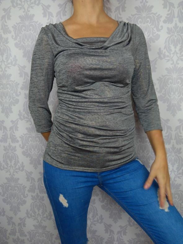 Srebrna ciążowa elegancka bluzka z miejscem na brzuszek Roman