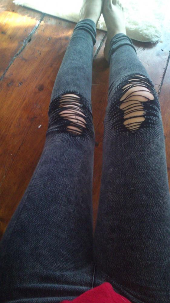 Legginsy spodnie z dziurami dziury s m
