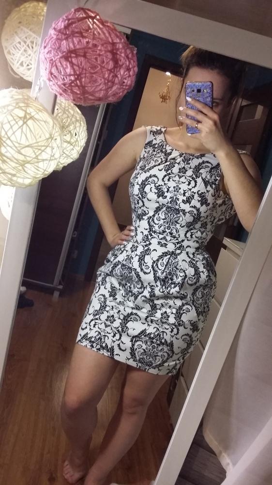 Kremowo czarna sukienka wzory 36
