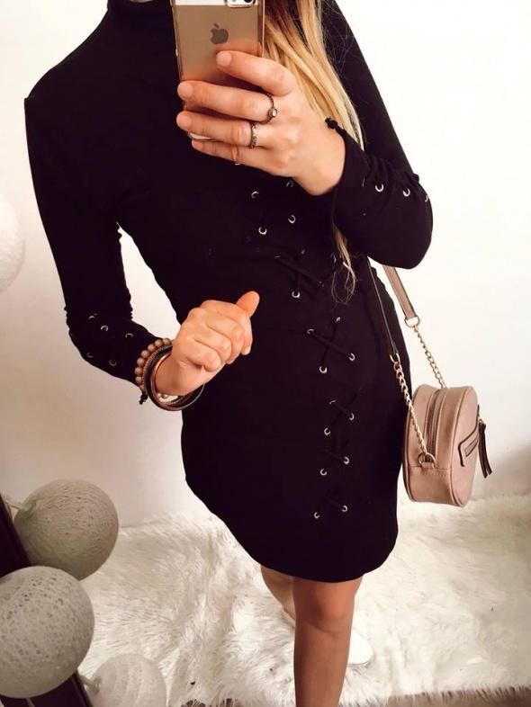Czarna sukienka z Golfem wiązania rozmiar M