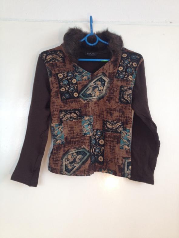 Sweter brązowy futerko sztuczne XS S M 34 36 38 długi rękaw uży...