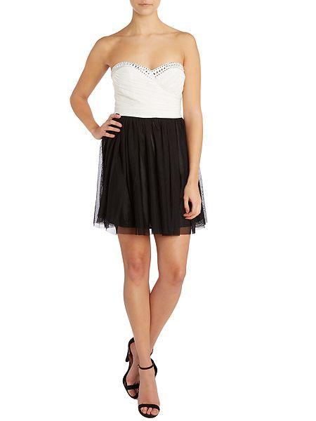 Lipsy czarnobiala sukienka rozkloszowana