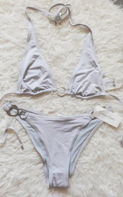 Calvin Klein S M bikini mocno wycięte srebrne